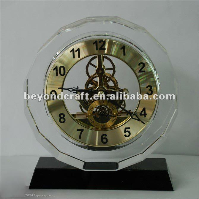 faceted crystal clock for giftware or living room decoration