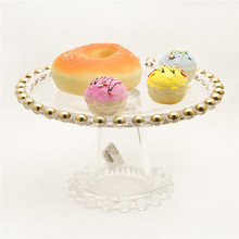 Luxuary Gold Ball Glass Wedding Cake Stand Discount Season Decorative Cake Plate and Stand