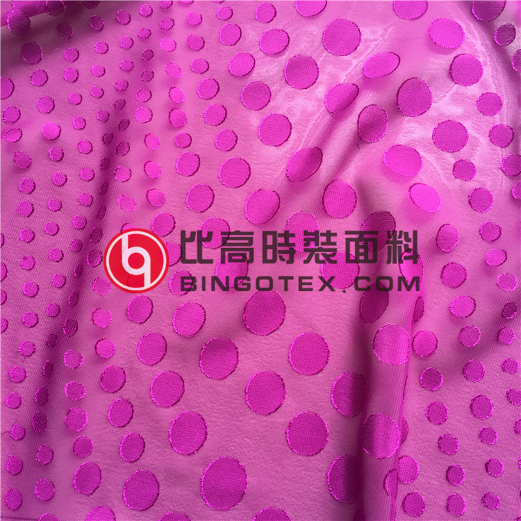 Differnt Size Circle Round Dots Cut Flower Jacquard Chiffon Fabric for Women's Garments