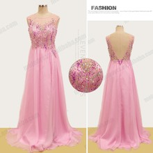 Collar V back beading sequins plus size japanese prom dress with long zipper