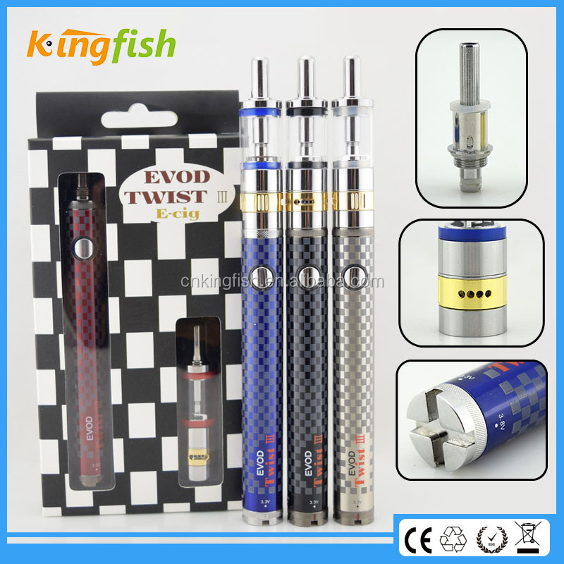 New variable voltage ecig airflow control evod twist 3 m16 colorful cheapest e cigarette deals for china wholesale