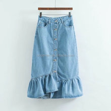 New fashion style women sexy blue color long denim jean skirt with ruffle