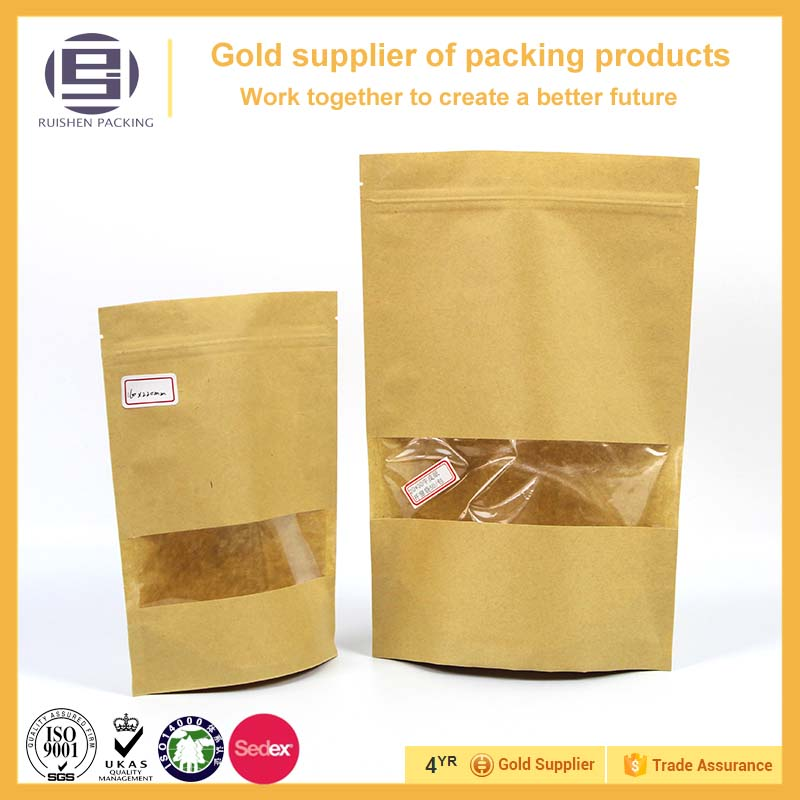 Recycled kraft paper bag with clear window for grocery,aluminum paper bag