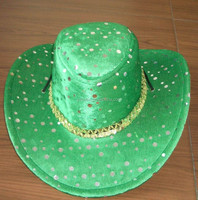 adjustable rope super flat wide brim green cowboy hat for St Patrick's Day