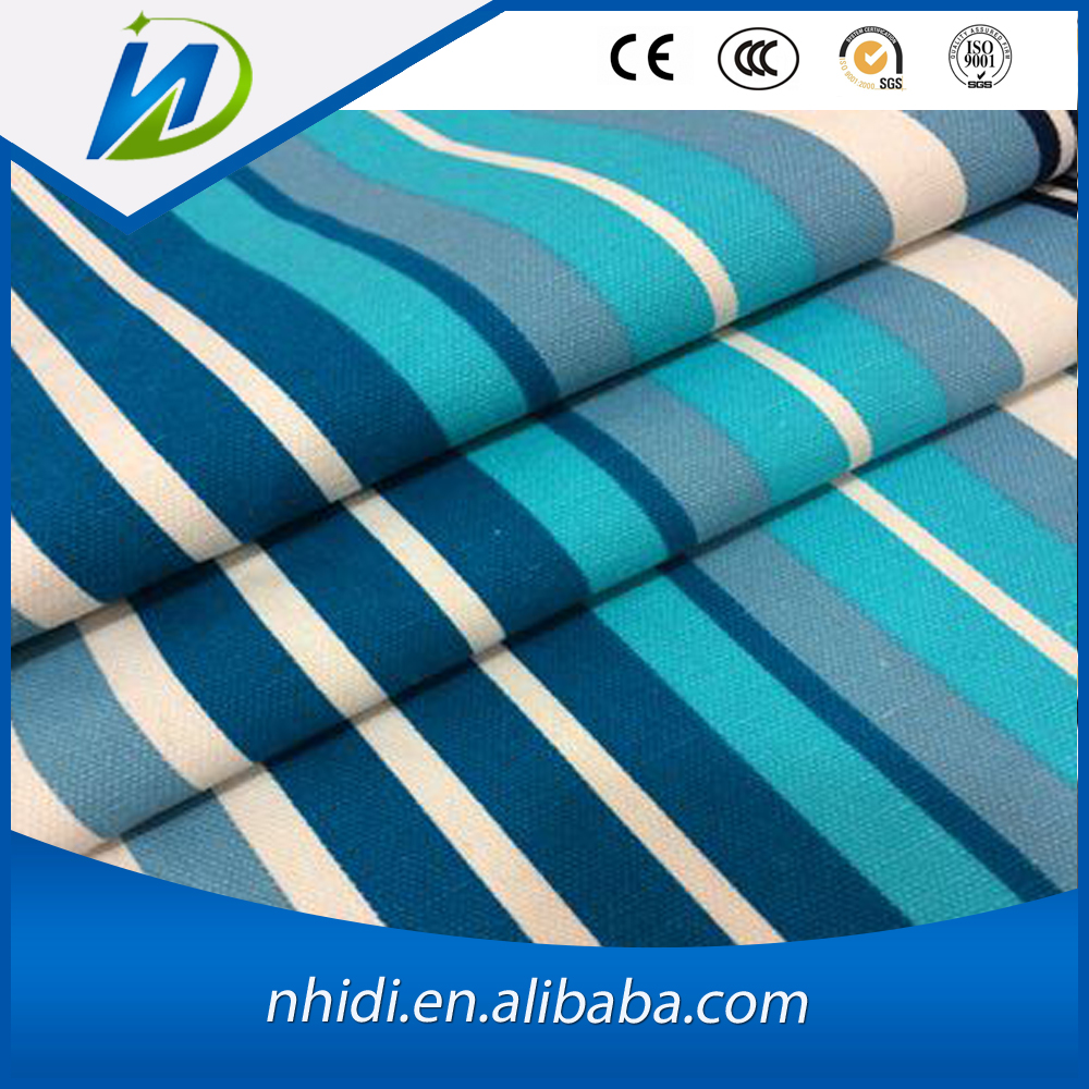 poly 65% cotton 35% blue and white stripe printed poplin fabric