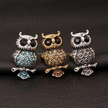 New bronze alloy owl ,New fashion grass crystal finger ring