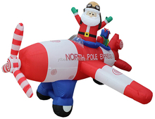 8 Foot Long Christmas Inflatable Santa Claus Flying Airplane 2017 Yard Decoration