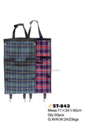 Portable SHOPPING BAG CART Foldable Plaid Trolley with WHEELS