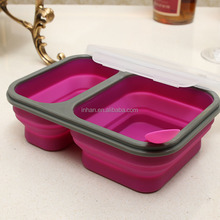 Collapsible silicone bento box foldable meal kit BPA FREE folding silicone lunch leakproof