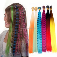 2018 New arrival colorful synthetic feather hair extension fashion fiber feather wholesale cheap i-tip synthetic feather