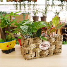 Dark flower basket rectangular grass basket for Christmas Ornaments