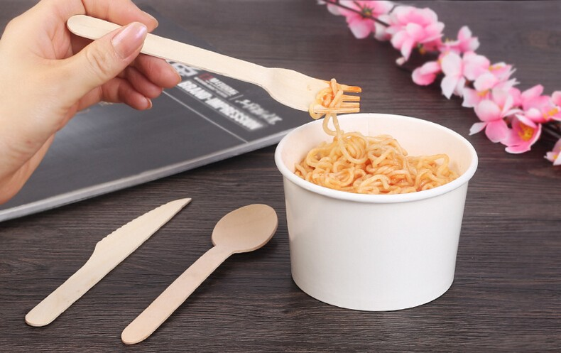 Wholesale factory price hot sale eco-friendly disposable wood dessert spoon fork knife set