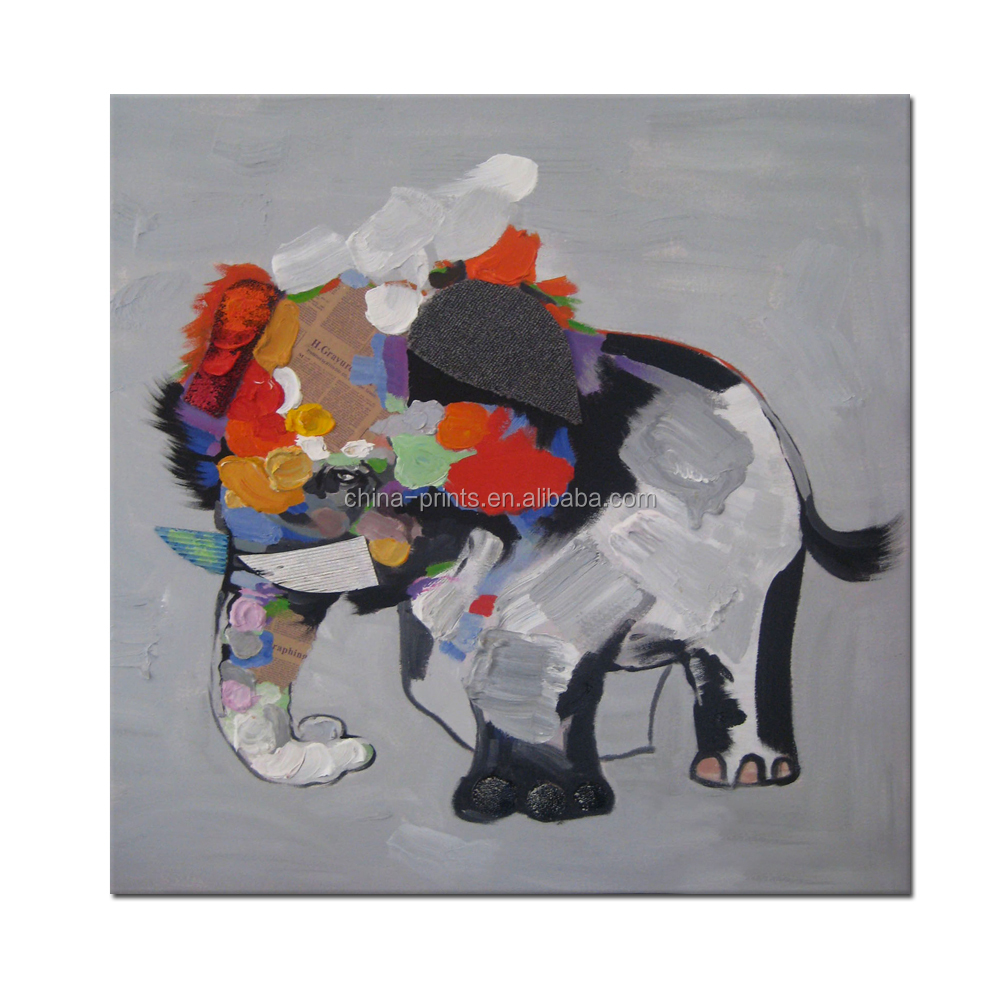 Abstract Elephant Canvas Painting/Cute Animal Wall Decor Art/Modern Wholesale Canvas Wall Art