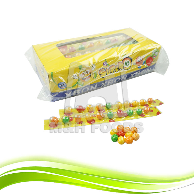 Long Ruler Shape Mix Fruity Favor Colorful Round Bubble Gum Candy in Boxes