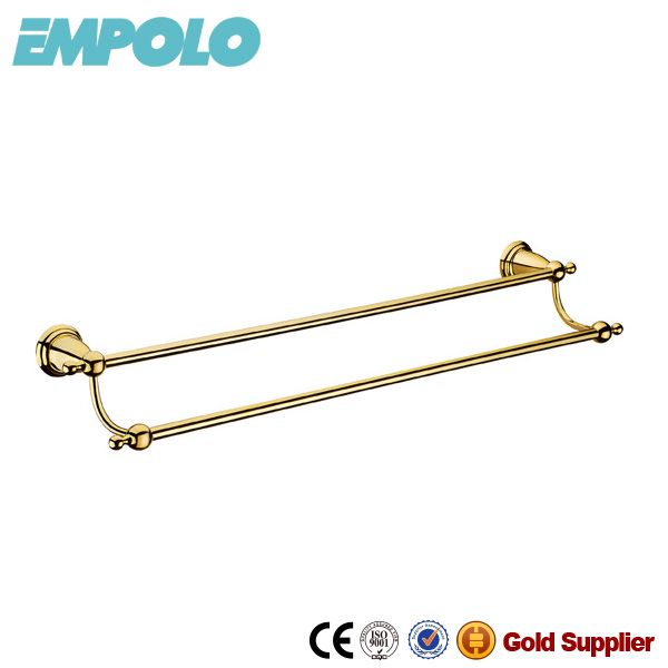 Gold Finish Double Brass Towel Rail Factory Towel Rod Bars 916 08