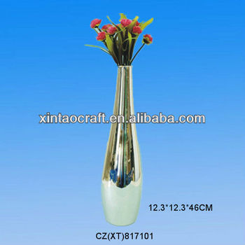 Wholesale elegant silver ceramic vases for centerpiece