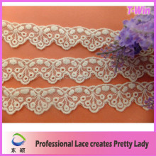 Fashion embroidery fabric lace trim water dissolving embroidered lace