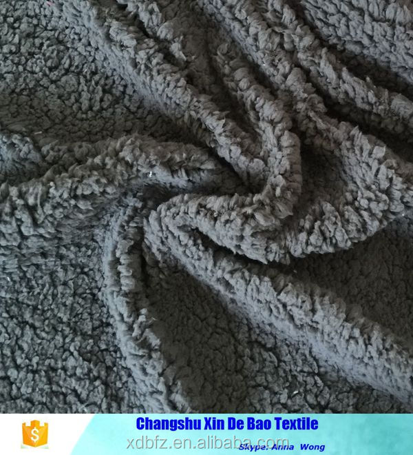 100% polyester sherpa throw fabric by single side brushed