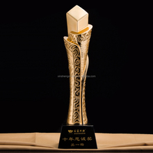 High Quality Beautiful Crystal Gold Plated Crystal Trophy And Award For Business gift