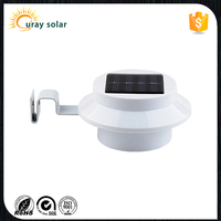 Outdoor Solar Power Panel 3 LED round rechargeable Wall Light / Garden /outdoor lamp