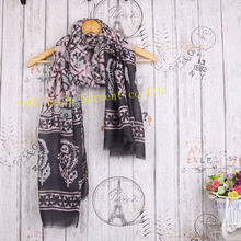 top grade fashion flower pattern infinity wholesale viscose polyester lady custom winter scarf