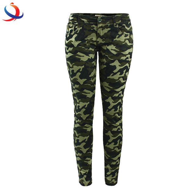 Women`S Chic Army Green Skinny Jeans Camouflage Cropped Pencil Pants For Sale
