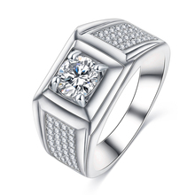 Fashion Brand Silver Plated Mens White Topaz Stone Diamond Engagement Wedding Rings Designs CRI0409-B