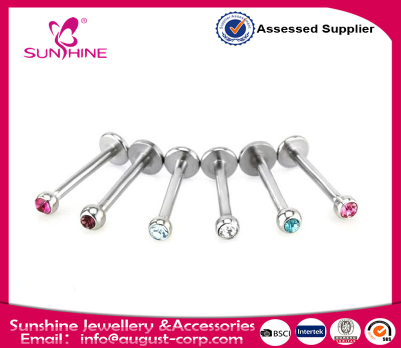 Stainless Steel Ball Crystal Bar Ring Labret Stud Tongue Lip Tragus Belly Button Navel Ring