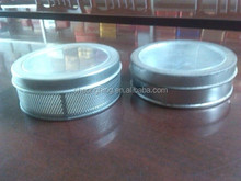 mesh side with transparent window lid round tin can