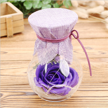 Scented Soap Flowers A Glass Packing Flower Romantic Valentine's Day gift