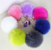 mini faux fur pom poms keychain,4-12cm faux rabbit fur,not metal