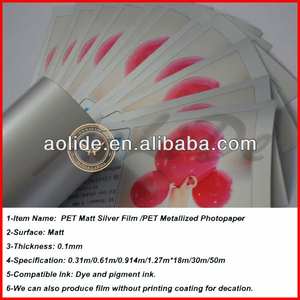 Roll size matt silver metallized inkjet film