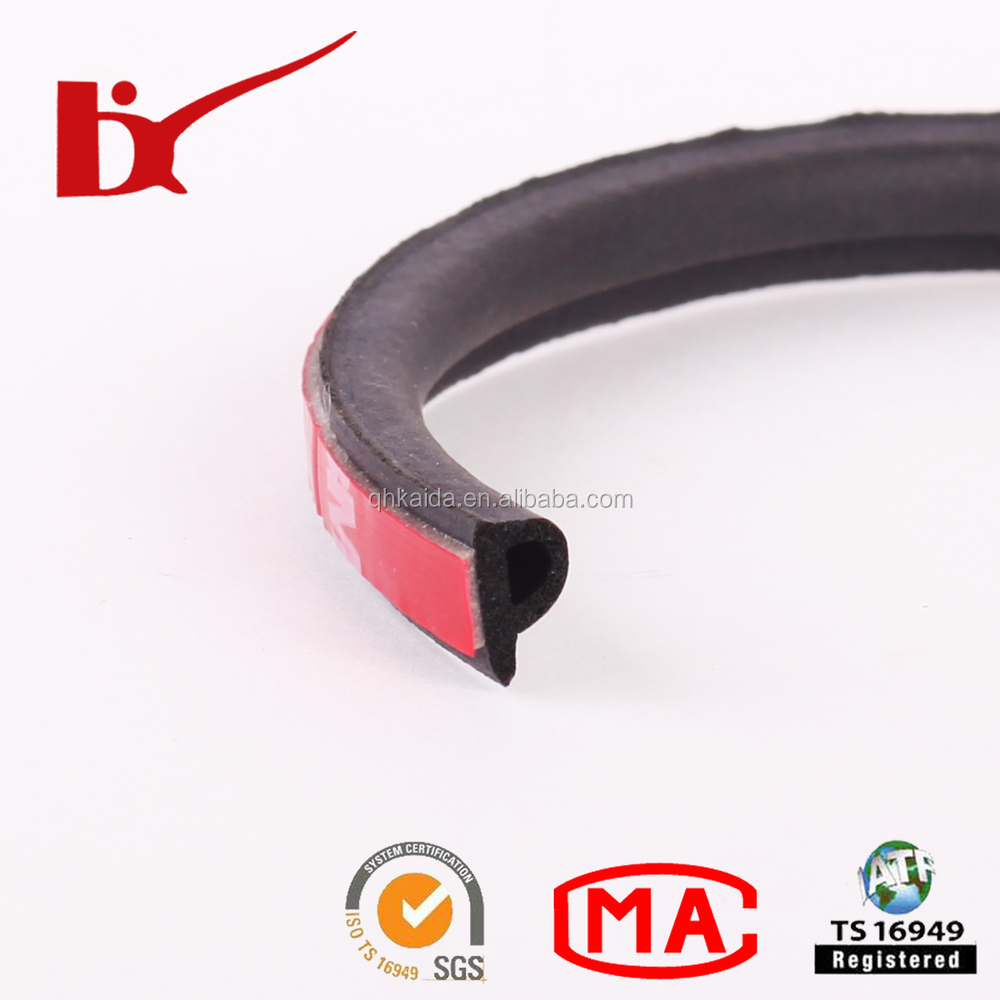 Customized D ,P Shape 3m adhesive Car DoorWindow Rubber Weather sealing strip