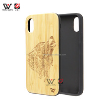On sale Wooden Cell Phone Case For iPhone X Engraving Wood Bamboo Case Back Cover Case For iPhone X