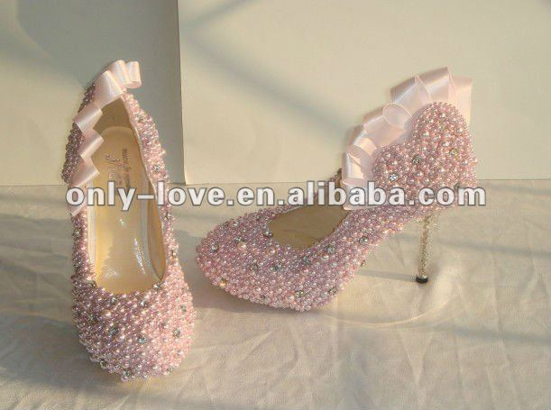 BS033 pink pearls bridal shoes high heel shoes wedding shoes