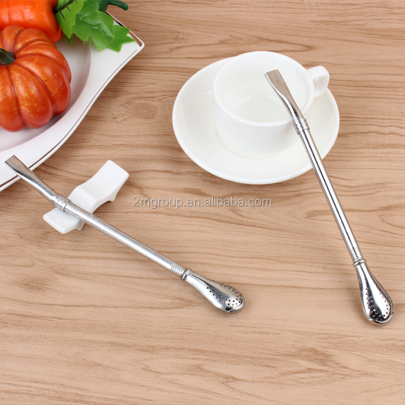 classic stainless steel drinking straw with coffee spoon for bar