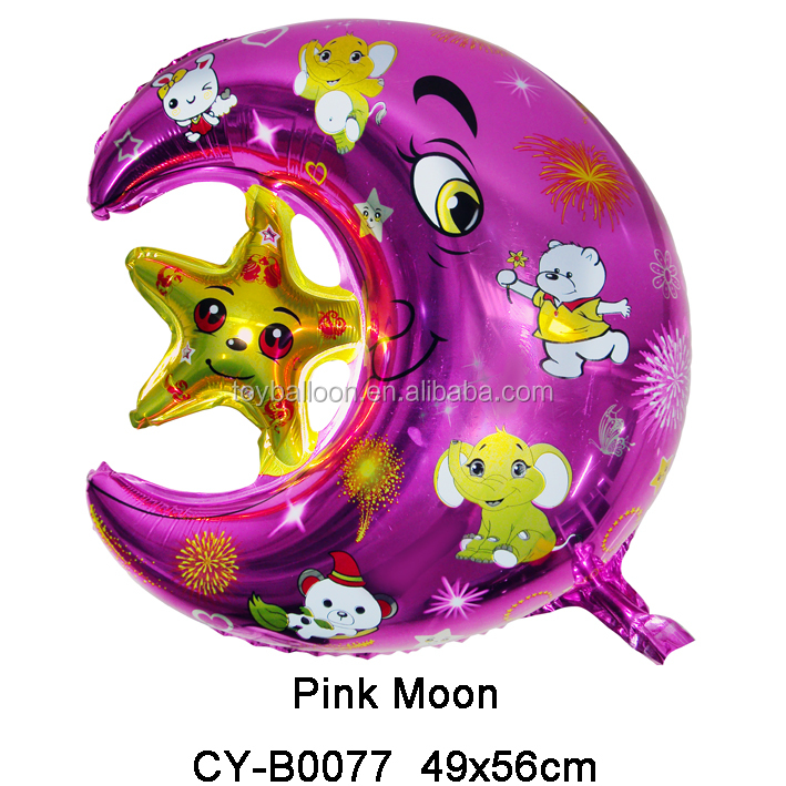 Inflatable foil mylar pink moon Balloon For Love wedding Decoration