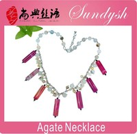Beautiful Handmade Rose Red Agate Stone Jewellery Gemstone Necklaces