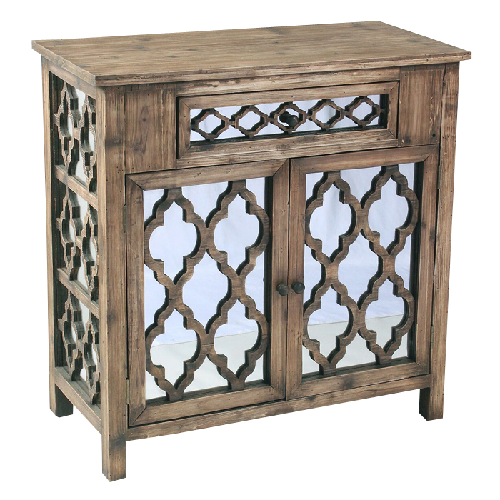 Shabby white 4 Wood Drawers Metal Chest for patio furniture