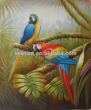 2015 wholesale animal handmade oil painting of parrot on canvas for home wall decoration
