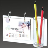 cheap 2014 wholesale acrylic desk calendar with pen holder