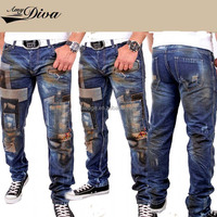 New model skinny jeans trousers wholesale high quality multi pockects damaged denim jeans pants for men