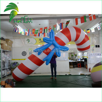 Giant Holiday PVC Air Christmas Candy Cane Model / Promotion Inflatable Christmas Stick Decoration