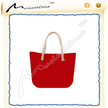 latest handbags strong rope handle red body light lining canvas bag