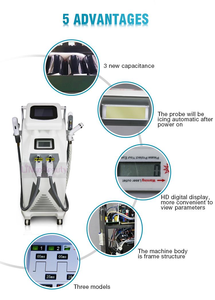 CE Сертификация 3 in1 Многофункциональный e-света ipl nd-yag-лазера удаления волос