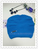 Fashion design for lady winter hat 100% cotton blue color