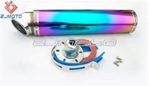 ZJ-R-222-1 Iridescent Motorcycle parts 102*420mm stainless steel Moto mufflers Motorcycle exhaust silencers