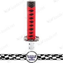 universal wooden katana sword shift knob, Red + Black car gear shift knob shifter