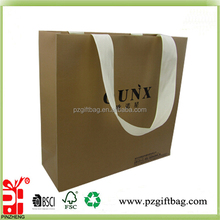 Custom cheap plain eco-friendly strong large brown kraft paper shopping bags with ribbon handle