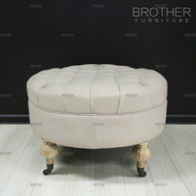 Home hotel upholstery furniture fabric fancy stool tufted ottoman